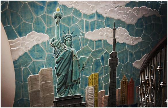 Tượng nữ thần tự do được khắc họa bằng nghệ thuật Mosaic