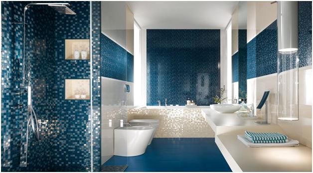 Phòng tắm đẹp với gạch mosaic