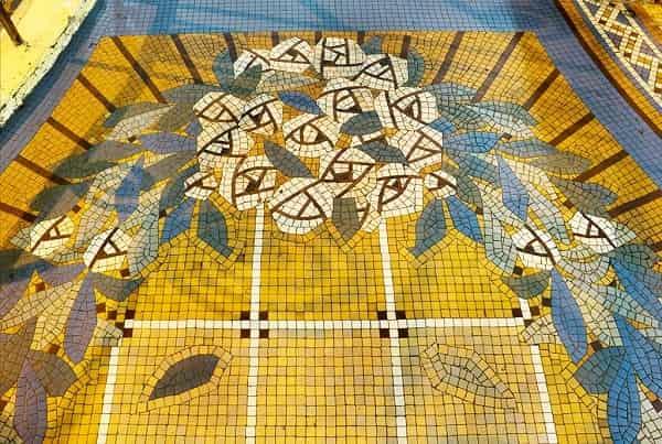 Gạch mosaic được bảo tồn trong công trình Thương xá Tax Sài Gòn
