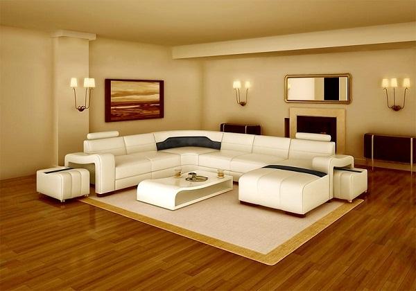 Nên chọn sàn nhựa giả gỗ có tông màu trầm và vân thưa cho căn phòng rộng mà ít đồ