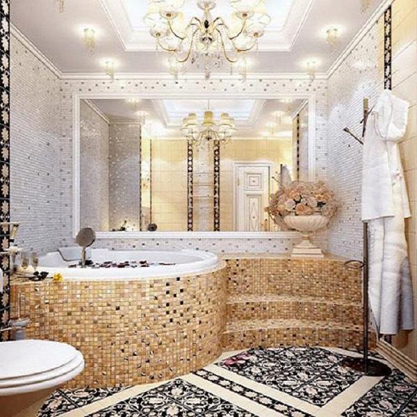 Phòng tắm sang trọng với gạch mosaic thủy tinh