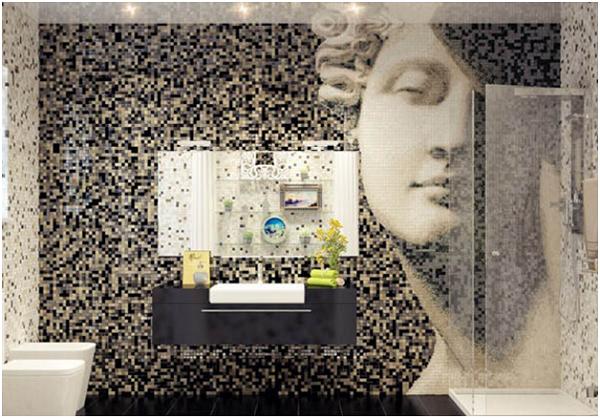 Thiết kế phòng tắm hoàn hảo nhờ ốp gạch mosaic thủy tinh