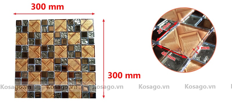 Kích thước gạch mosaic BV015