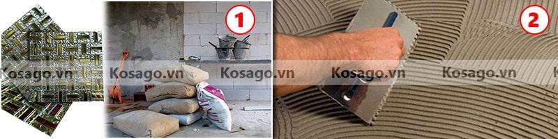 Hướng dẫn lắp đặt gạch mosaic BV017 - Bước 1, 2