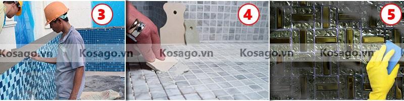 Hướng dẫn lắp đặt gạch mosaic BV017 - Bước 3, 4, 5