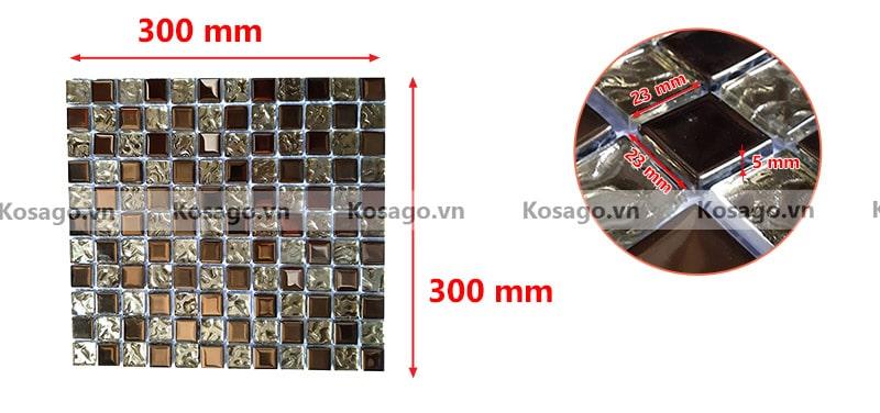 Kích thước gạch mosaic trang trí BV020
