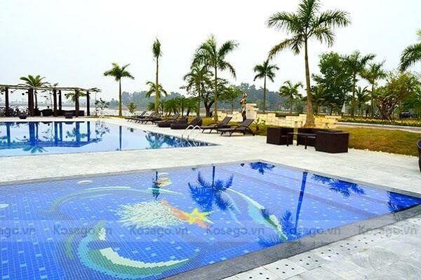 Gạch tranh 3D ốp bể bơi