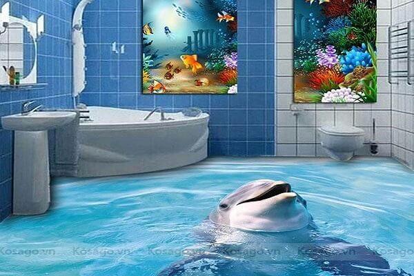 Gạch tranh 3D ốp phòng tắm nhà vệ sinh