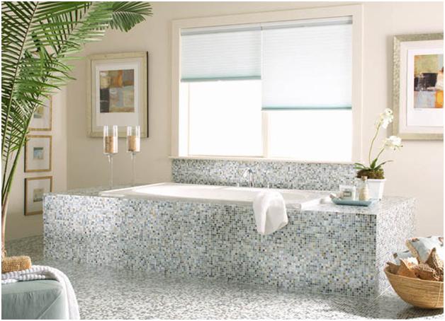 Phòng tắm long lanh với gạch ốp mosaic