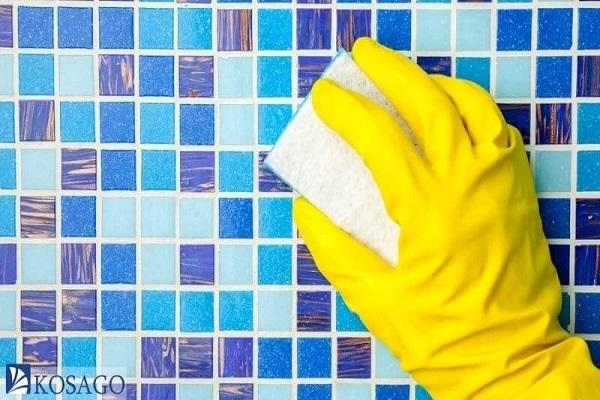 vệ sinh gạch mosaic sau khi hoàn thiện