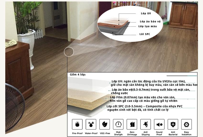 Bản vẽ cấu tạo sàn nhựa giả gỗ trong nhà SPC 6048 - 8
