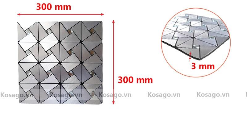 Kích thước gạch gạch mosaic bv012