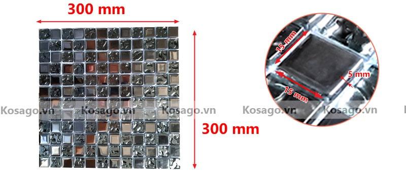 Kích thước gạch mosaic trang trí BV007