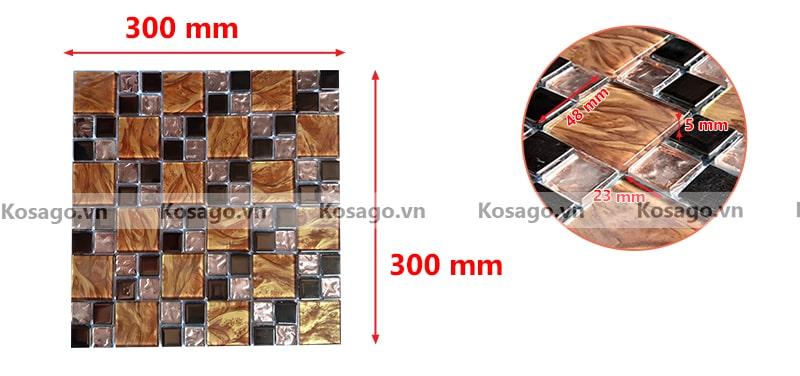 Kích thước sản phẩm gạch mosaic mẫu BV021