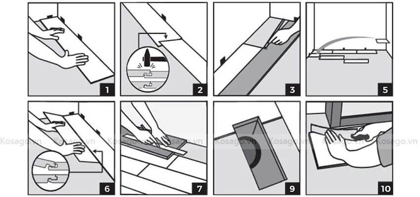 Quy trình lắp đặt sàn nhựa giả gỗ trong nhà BD2309