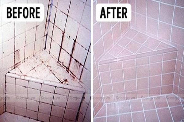 Làm sạch gạch lát bị ố vàng bằng hóa chất tẩy rửa