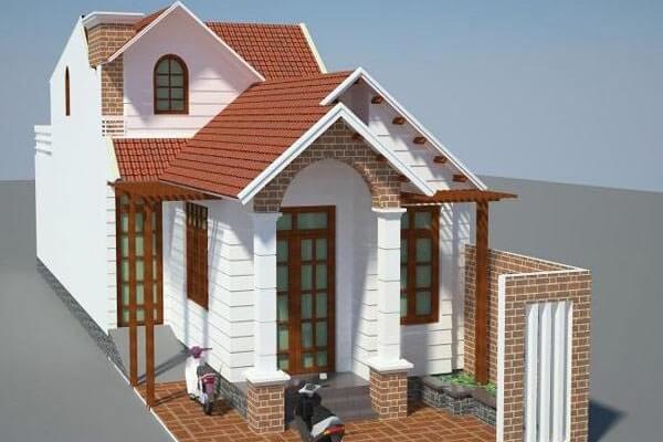 gạch mặt tiền nhà mái thái