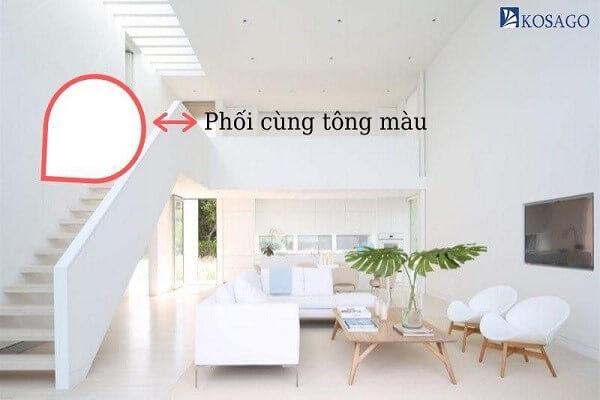 nền nhà màu trắng sơn tường màu tương tự
