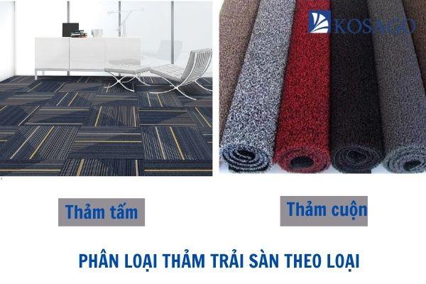 phân loại thảm trải sàn theo loại